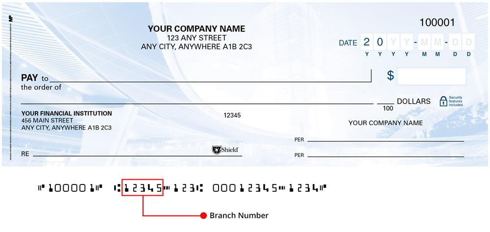 This is a 5-digit number found at the bottom of your cheque and identifies the branch where your account is held. Also referred to as Transit number.