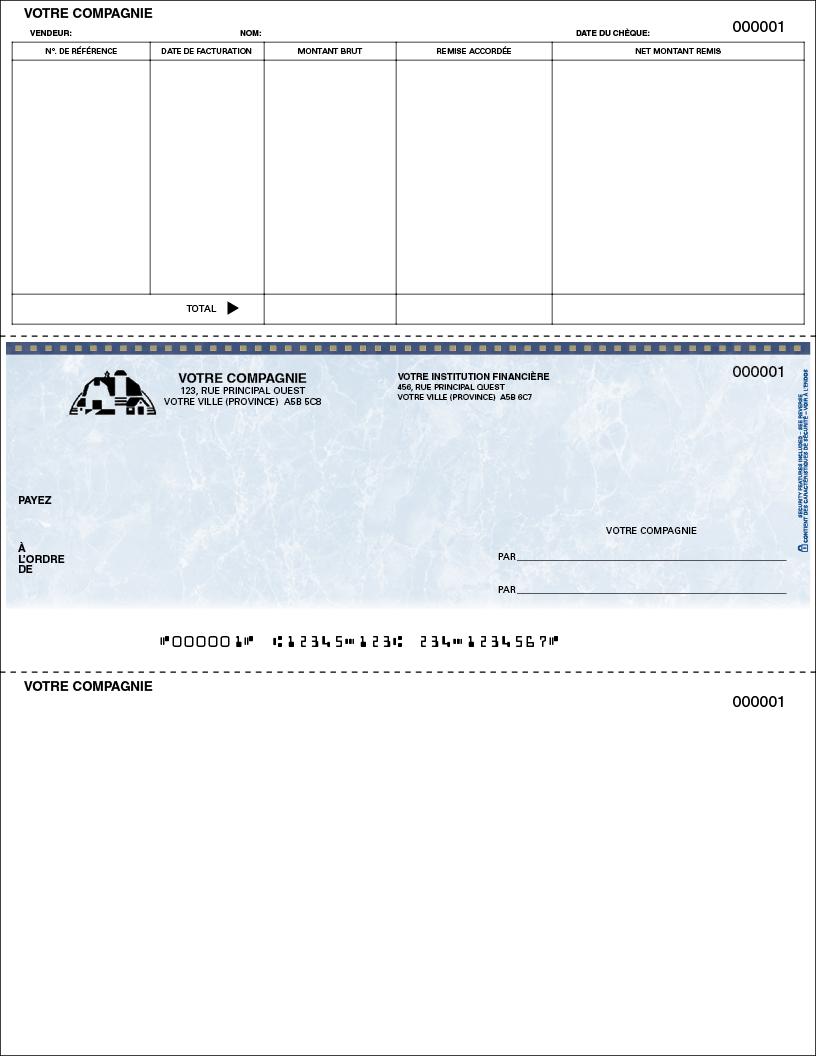 Chèque pour comptes fournisseurs